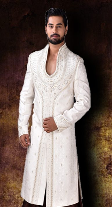 Ivory hand embroidered sherwani for groom