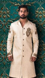Ivory silk sherwani for groom